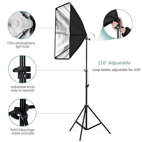 Kit de 2 d'éclairage 2 ampoules Amzdeal Softbox - 1124W, 5500K (Vendeur tiers - Expédié par Amazon)