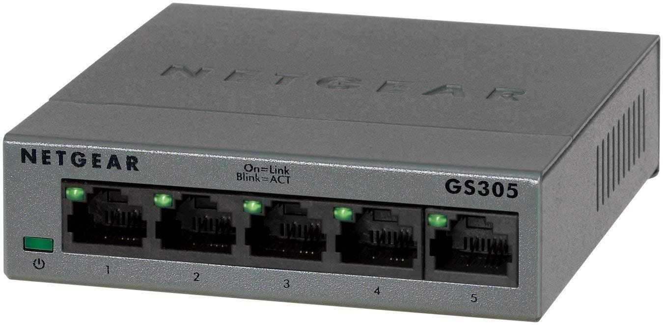 Switch Netgear GS305-100PES Métallique - 5 Ports Gigabit