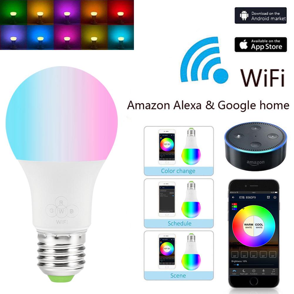Lot de 3 Ampoules Connectée LED RGB E27 - 6,5W, WiFi, Compatible Alexa et Google