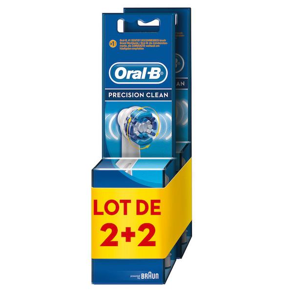 Lot de 2 + 2 brossettes Oral-B Precision Clean