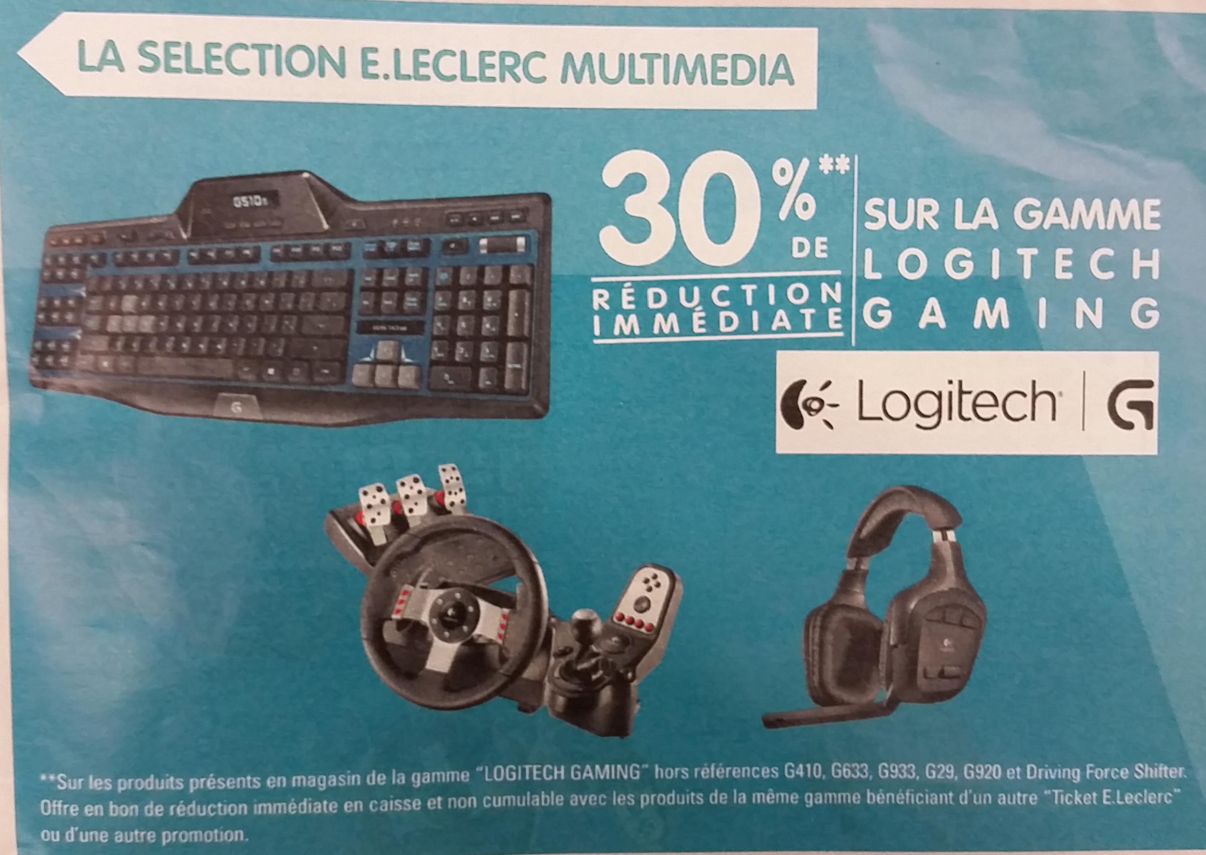 30% en bon d'achats sur les produits Logitech Gaming