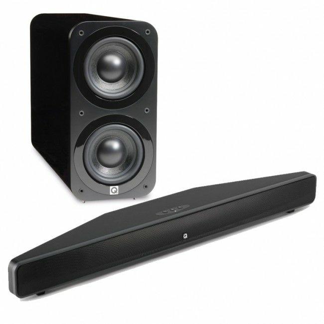 Pack  2.1 Q Acoustics - barre de son Media M4 avec caisson de basses Q3070S - noir laqué