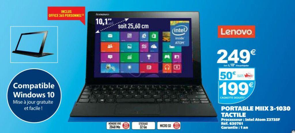 """Tablette 10"""" Lenovo Miix 3-1030 32 Go (avec 50€ sur la carte + ODR 50€)"""