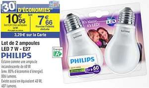 Lot de 2 ampoules LED Philips - 7W E27 (via 3.29€ fidélité)