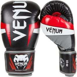 Gants de boxe Venum Elite -  noir / rouge (du 10 a 16 oz)
