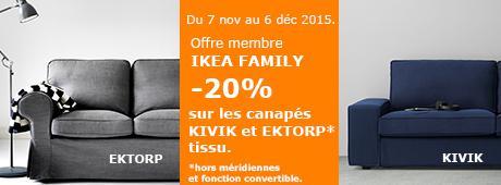 [Ikea Family] 20% de réduction sur une sélection de marques - Ex : 20% sur les canapés Ektorp et Kivik