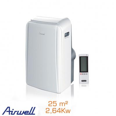 Climatiseur mobile Airwell 2,64 KW avec télécommande - 25 m²