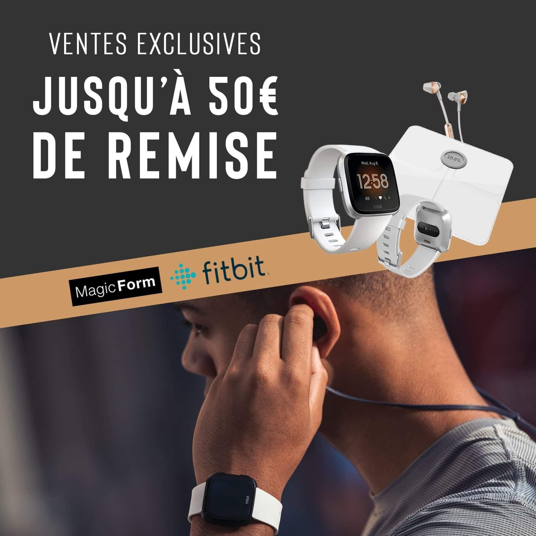 Jusqu'à 50€ de réduction sur une sélection d'articles Fitbit en promotion (fitbit-magicform.fr)