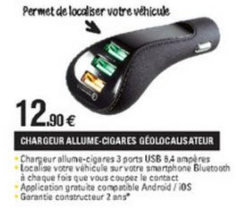 Chargeur allume-cigare géo-localisateur - 3 ports USB