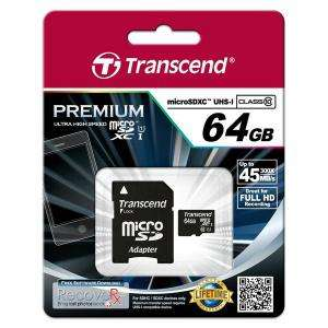 Carte microSDXC Transcend Premium Classe 10 - 64 Go avec adaptateur