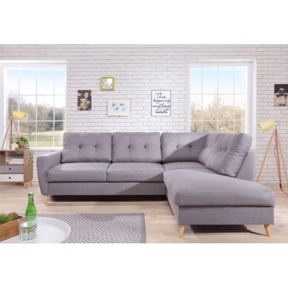 Canapé d'angle Bobochic Scandi - 6 places - Fixe, Gris Clair, Droite