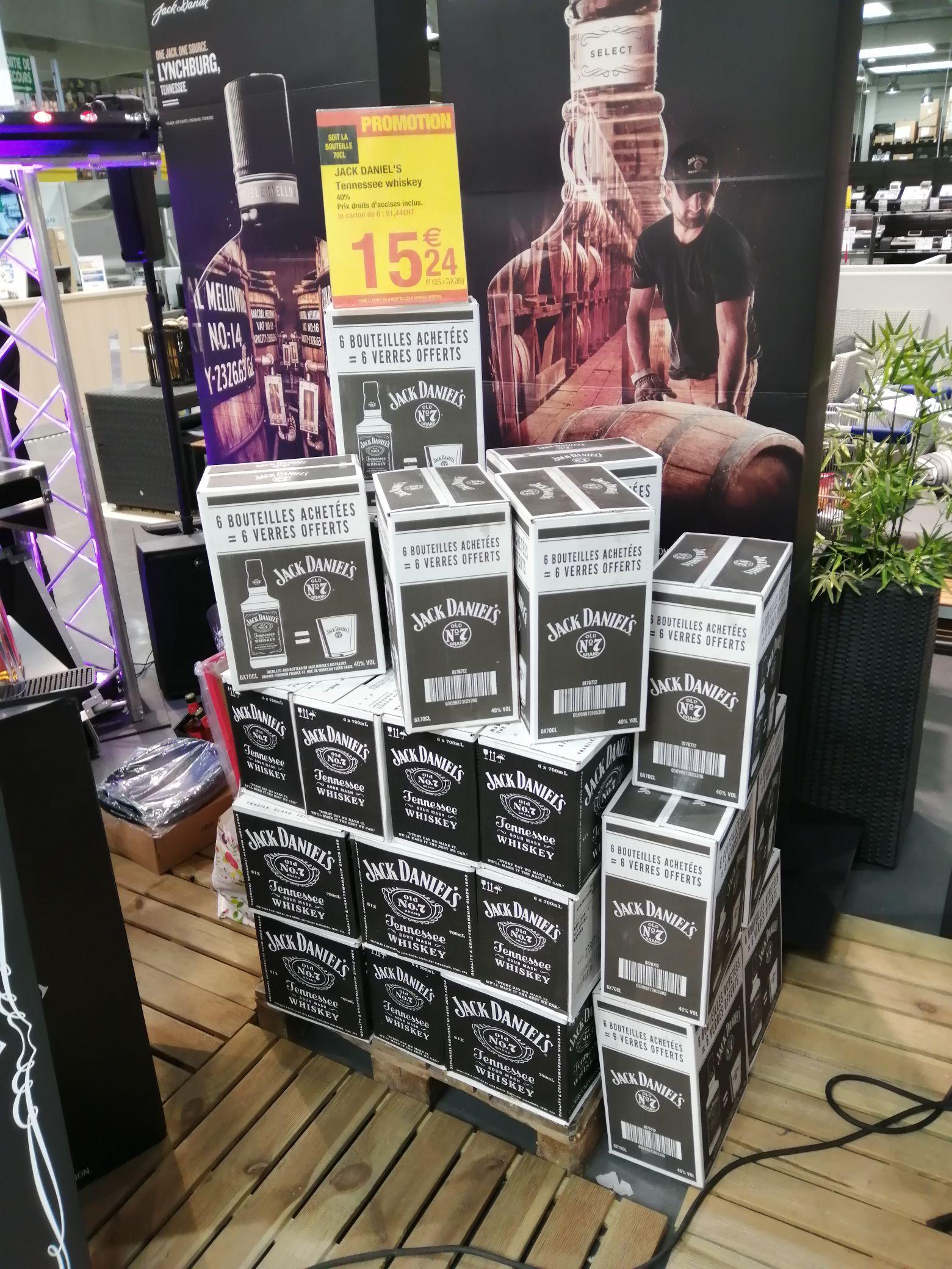 Lot de 6 Bouteilles Jack Daniel's Tennessee Whiskey avec 6 verres offerts - Métro Henin Beaumont (62)