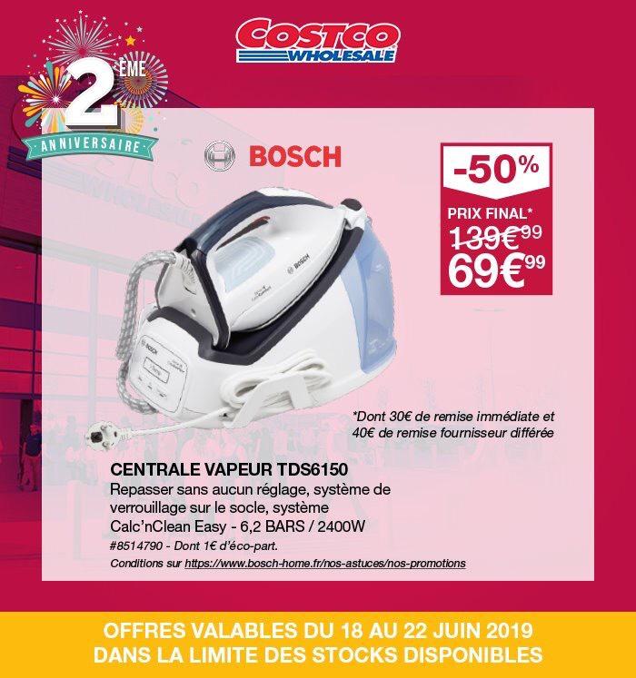 [Carte Costco] Centrale vapeur Bosch TDS6150 - 2400 W (via ODR 40€) - Villebon-sur-Yvette (91)