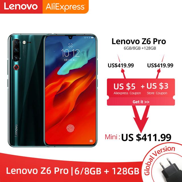 "Smartphone 6.39"" Lenovo Z6 Pro - full HD+, SnapDragon 855, 6 Go de RAM, 128 Go, 4G (sans B20/B28), bleu ou noir"