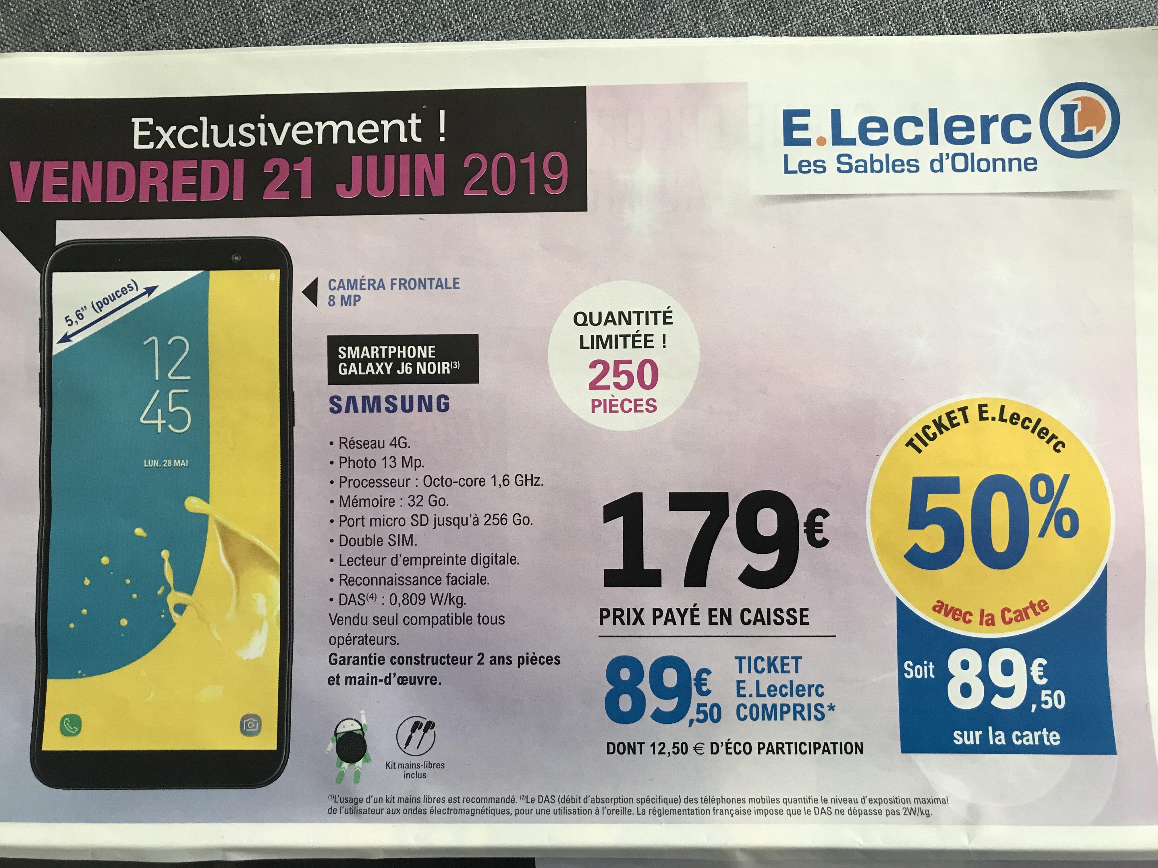 """Smartphone 5.6"""" Samsung J6 - 32Go, Double Sim (Via 89.50 en Bon d'achat) - Sables-d'Olonne (85)"""