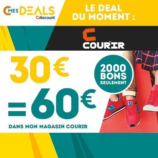 60€  à dépenser chez  Courir (sur tous les articles hors produits signalés)