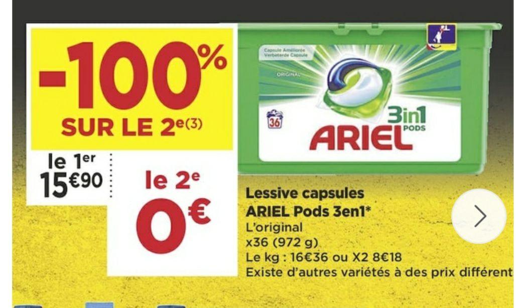 2 Boites de Lessives Ariel pods 3en1 gratuites (Via Casino Max)