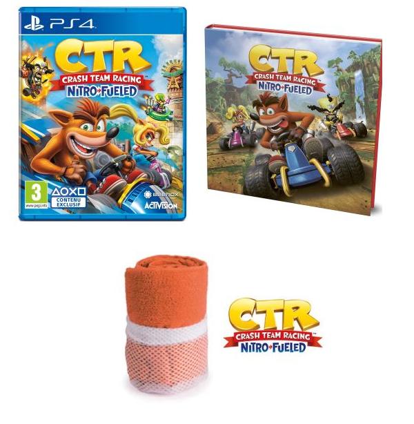 Crash Team Racing Nitro-Fueled + Serviette de plage CTR + Livre L'histoire de CTR sur PS4, Xbox One et Nintendo Switch