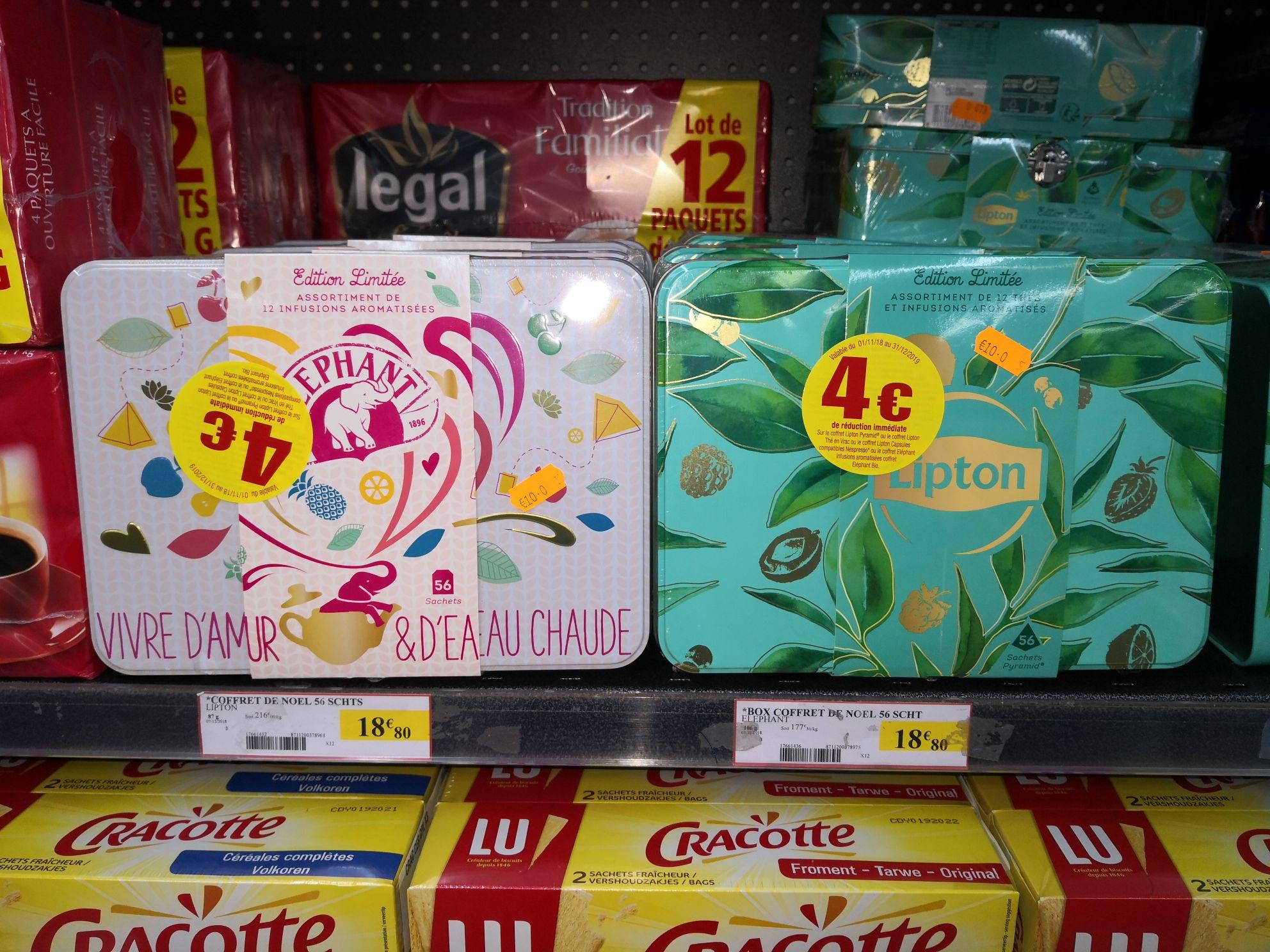 Coffret 56 sachets de thé Éléphant ou Lipton Infusions aromatisées - Intermarché Villeneuve le roi (94)