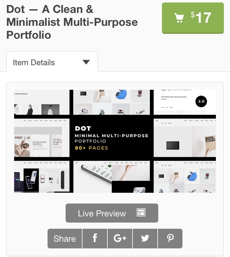 "Thème portfolio ""Dot A Clean & Minimalist Multi-Purpose"" gratuit"