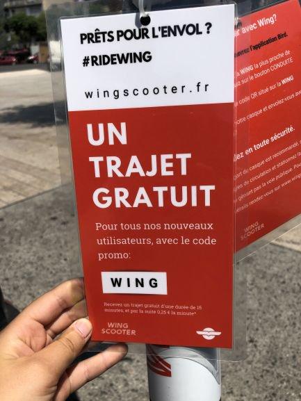 [Nouveaux utilisateurs] 15 minutes offertes pour un trajet Wingscooter - Marseille (13)