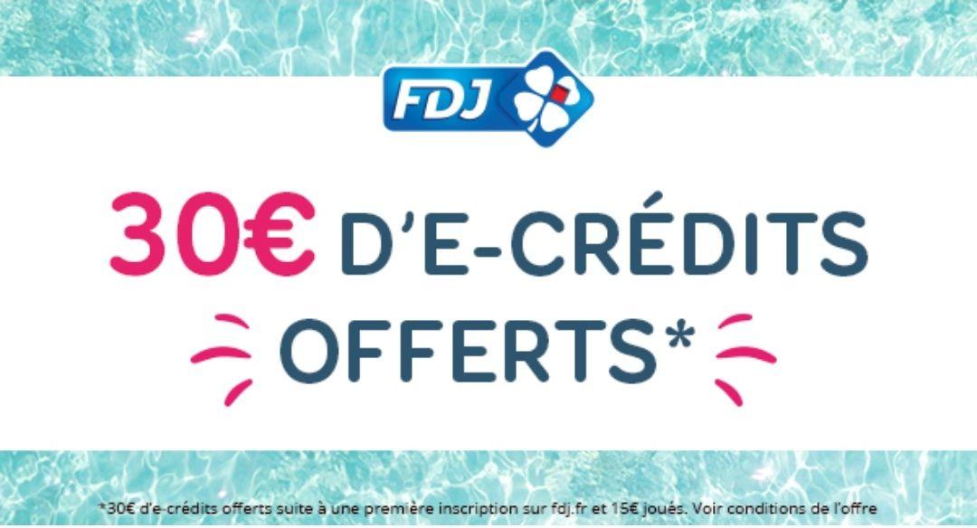 [Nouveaux Clients] 30€ d'e-crédits offerts sur le site FDJ.fr