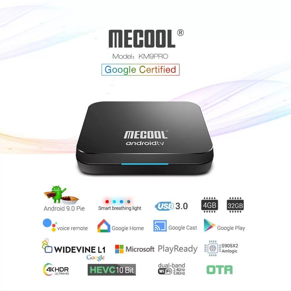 Box TV Android Mecool KM9 pro - s905x2, 2 Go de RAM, 16 Go, ATV (Google certifié)