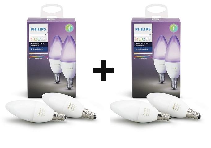 2 Packs de 2 Ampoules Philips Hue White and Colour - E14, 6.5W