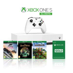 Pack Console Microsoft Xbox One S 1 To All Digital  + Forza Horizon 3 + Minecraft + Sea of Thieves + 1 mois d'abonnement Xbox Live Gold