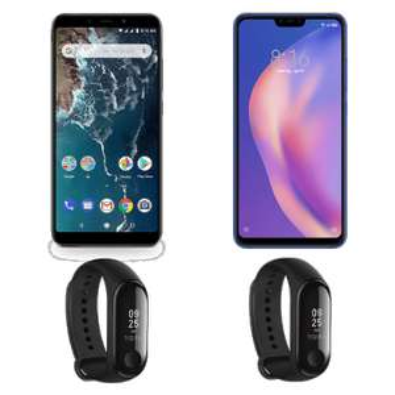 "Smartphone 5,99"" Xiaomi Mi A2 - 64Go + Smartphone 6.26"" Xiaomi Mi 8 Lite - 64Go + 2 Bracelets Connectés Mi Band 3 (Via Application Mobile)"