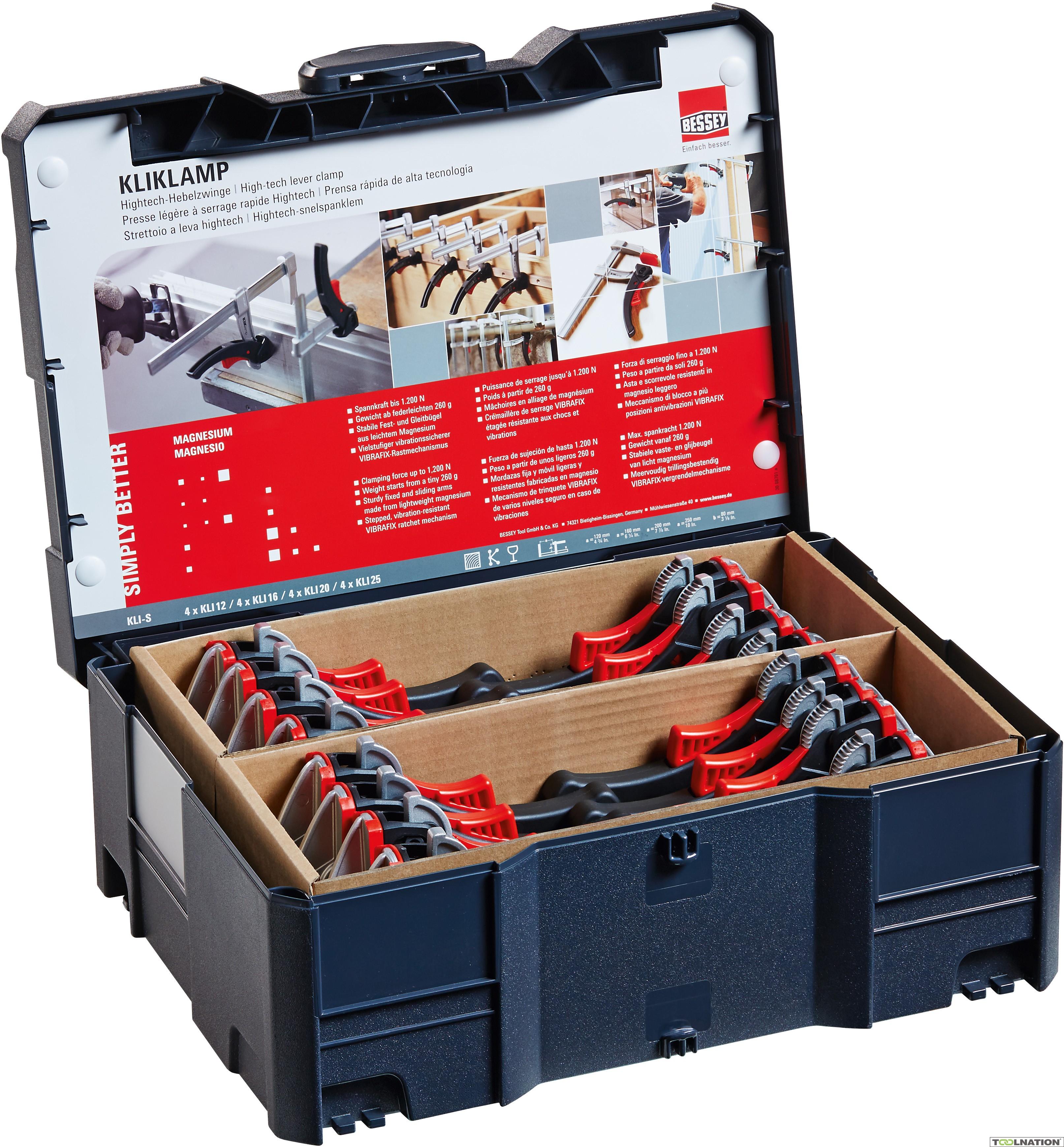 16 serre-joints KliKlamp (kli-S) en coffret Systainer (toolnation.nl)