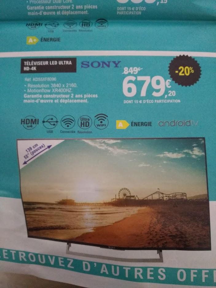 "TV 55"" Sony KD55XF8096 - Ultra HD, 4K, WIFI, HDR, Android TV - Jonzac (17) / Bergerac, Sarlat-la-Canéda (24)"