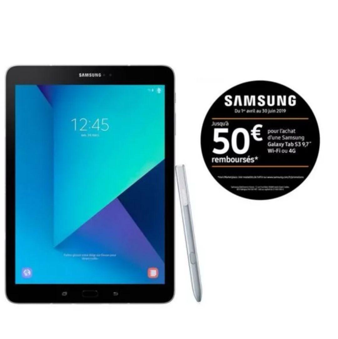 "Tablette 9.7"" Samsung Galaxy Tab S3 (SM-T820) - 32 Go, WIFI, 4Go RAM, QHD, S-Pen (Via ODR de 50€)"