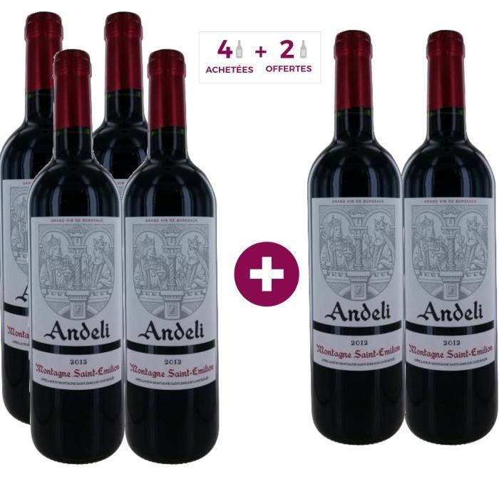 Lot de 6 bouteilles de vin rouge Andeli 2012 Montagne Saint-Emilion - 75cl