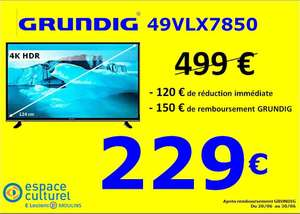 "Tv 49"" GRUNDIG 49VLX7850 - 4K, HDR, SMART TV (Via ODR de 150€) - Moulins (03)"