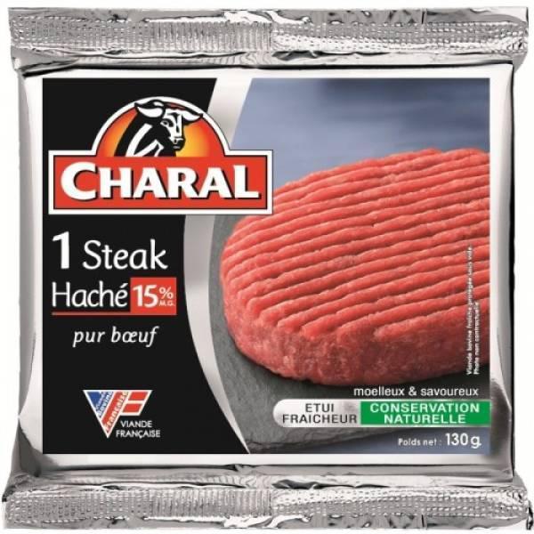 Steak haché Charal 130g (15% de M.G.) gratuit