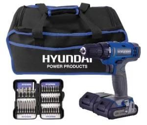 Perceuse sans fil Hyundai 18 V + 2 batteries Lithium + Coffret 37 accessoires + Sac de transport