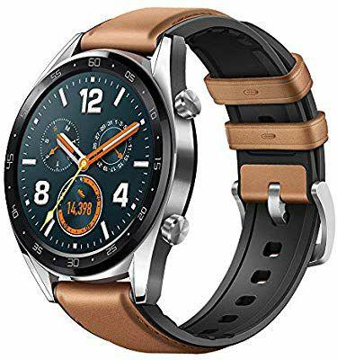 Montre connectée Huawei Watch GT - 46 mm, 5 ATM, Bracelet en Cuir Marron
