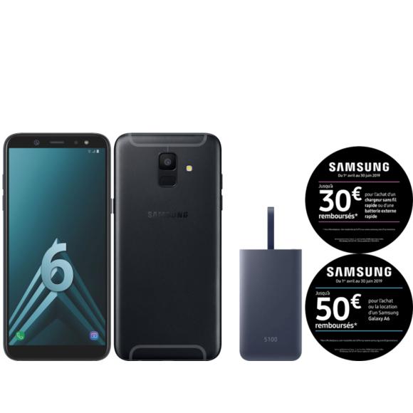 "Smartphone 5,6"" Samsung Galaxy A6 (32 Go) + Batterie externe Fastcharge 5100 mAh (via ODR de 50€ + ODR 30€)"