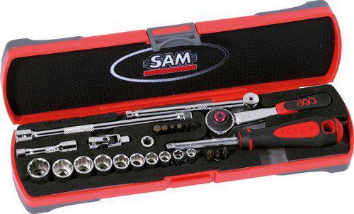 """Coffret de douilles Sam Outillage 73-RE26 - 1/4"""" 26 Outils de 5,5 à 14 mm"""