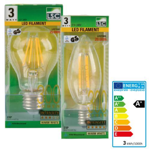 Ampoule LED Filament LSC  - E27 ou E14, 300 lumens