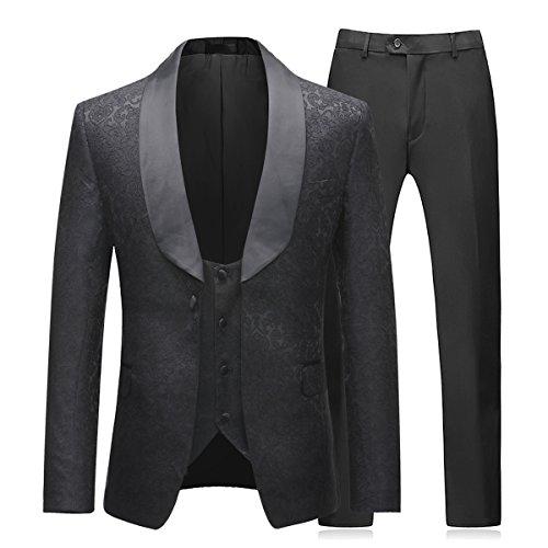 Costume Homme 3 Pièces Sliktaa - Tailles du XS au 3XL Noir (Vendeur tiers)