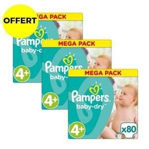 Lot de 3 Mega Packs de Couches Pampers Baby Dry (Taille 4+) - 3 x 80