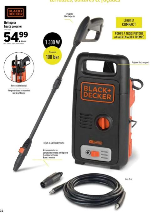 Nettoyeur Haute Pression Black & Decker - 1300 W