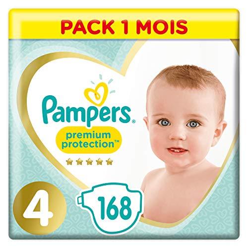 Pack de 168 Couches Pampers Premium Protection Taille 4, 168 , 9-14kg (Économiser en s'abonnant)
