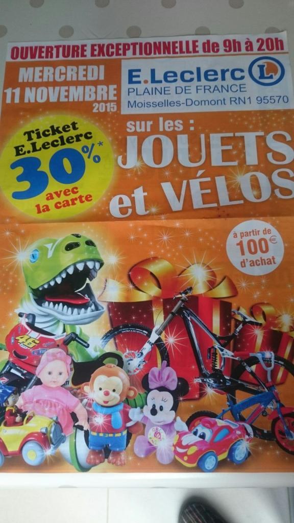30% crédité sur la carte fidélité sur les jouets à partir de 100 € d'achat