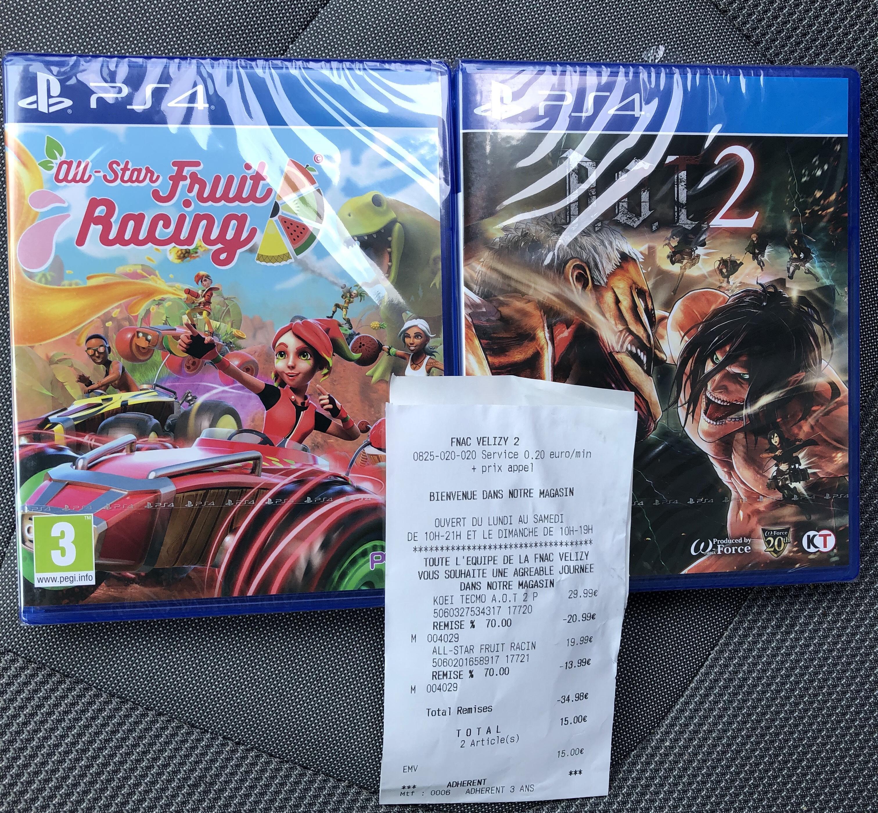 Sélection de jeux vidéo en promotion (Ex: All Star Fruit Racing sur PS4) - Velizy (78)
