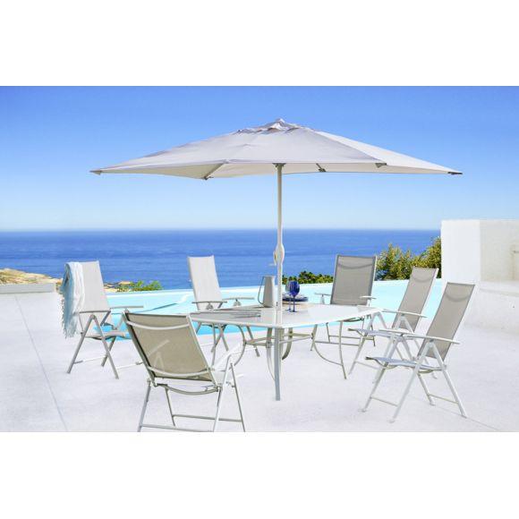 Salon de jardin Rona écru - Table de jardin, plateau verre trempé (150 x 90), 6 chaises , parasol (300 x 200)
