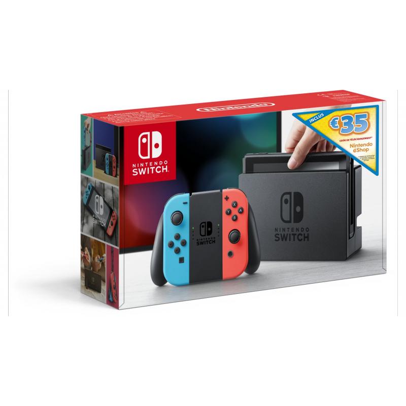 Console Nintendo Switch avec Joy-Con rouge néon et bleu néon + code de téléchargement Nintendo eShop 35€