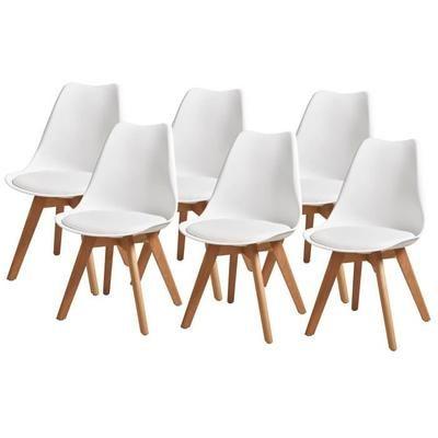 Lot de 6 chaises pieds en Hêtre Bjorn - 48,5x58x83 cm, Blanches